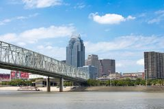 Skyline of Cincinnati, Ohio from General James Taylor park in N. Ew Port Kentucky over the Ohio River royalty free stock images