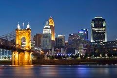 Skyline of Cincinnati, Ohio and the John A Roebling Suspension B royalty free stock photo