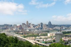 Skyline of Cincinnati, Ohio in Summer from over the Ohio River.  stock images