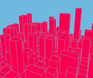 Skyline City. Abstract town. Industrial landscape Vector illustr Stock Image