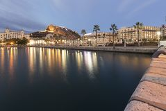 Skyline of the city of Alicante from its port. Stock Photo