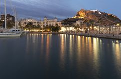 Skyline of the city of Alicante from its port. Royalty Free Stock Photos