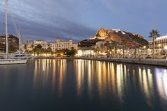 Skyline of the city of Alicante from its port. Stock Photography