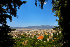 Skyline of the city of Athens royalty free stock images