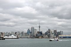 Skyline of the City of Auckland, New Zealand stock image
