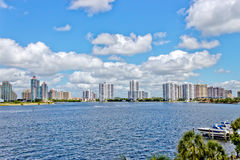 Skyline of the city of Aventura in Miami, Florida. Royalty Free Stock Image