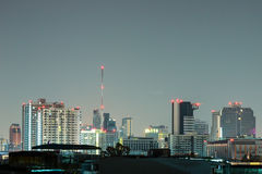 Skyline of the city in Bangkok. Skyscrapers forming a skyline in a bright night in a city Royalty Free Stock Image