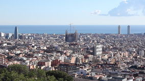 Skyline city Barcelona Sagrada Familia stock video