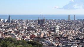 Skyline city Barcelona Sagrada Familia stock video