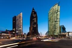 Skyline of the city Berlin, Germany, at night Stock Photo