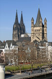 Skyline city Cologne with historic churches Royalty Free Stock Photography