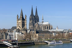 Skyline city Cologne with historic churches. Germany, state, land North Rhine-Westphalia, Cologne city: Aerial view from the bridge the Deutzer Brücke: Quay Royalty Free Stock Photography