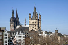 Skyline city Cologne with historic churches. Germany, state, land North Rhine-Westphalia, Cologne city: Aerial view from the bridge the Deutzer Brücke: Quay Stock Photo