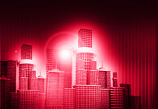 Skyline city. 3d render of skyline city on abstract background stock illustration