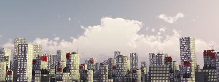 Skyline city in daylight Royalty Free Stock Image