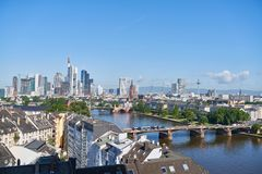 Skyline of the city of Frankfurt am Main with skyscrapers. City skyline of Frankfurt am Main with skyscrapers on the river Stock Photos