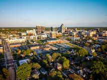 Skyline of the city of Greensboro under a blue sky in North Carolina