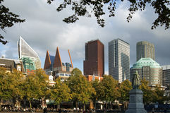 Skyline of the city The Hague. Netherlands, province of South Holland, city The Hague: Dutch modern government buildings, the political center, with skyscrapers Stock Photos