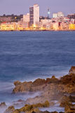 The skyline of the city of Havana in Cuba at sunset Stock Photos