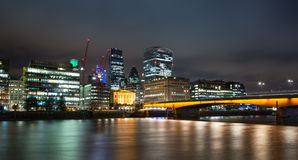 Skyline of the City of London at Dusk Stock Image