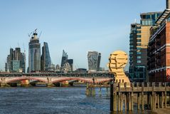 The skyline of the City. London / UK - September 17 2018: View of the Blackfriars bridge and the City skyline, including the Gherkin, the Heron, the royalty free stock photos