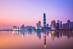 Skyline of city at night Stock Photos
