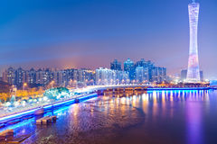 Skyline of city at night Stock Images