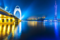 Skyline of city at night Stock Photography