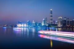Skyline of city at night Royalty Free Stock Photos