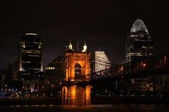 Skyline of a city at night. With a bridge cincinnati Royalty Free Stock Photography