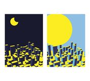 Skyline City Night and day set. Abstract town. Industrial landsc. Ape Vector illustration Stock Image