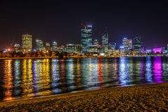 Skyline of the city of Perth at night Royalty Free Stock Photography