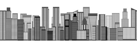 Skyline City Seamless Background. Vector Stock Photos