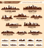 Skyline City Set. 10 Cities Of USA 2 Stock Photos