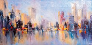 Skyline city view with reflections on water. Original oil painting on canvas stock illustration