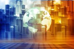 Skyline city with world Stock Photos