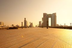 Skyline of city from Yumeno Ohashi Bridge in Odaiba Royalty Free Stock Image