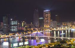 Skyline cityscape night view from a tower's rooftop of Da Nang beach city Stock Photography