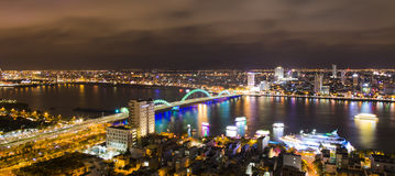 Skyline cityscape night view from a tower's rooftop of Da Nang beach city Royalty Free Stock Image