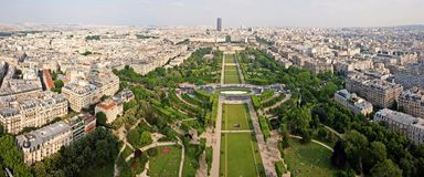 Skyline cityscape view of champ de mars park with military school Stock Images