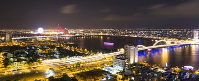 Skyline cityscape view from a tower's rooftop of Da Nang beach city Stock Image