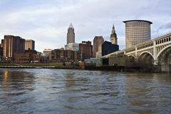 Skyline of Cleveland. Evening time Royalty Free Stock Image