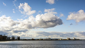 Skyline of cloudy sky in city port Royalty Free Stock Image