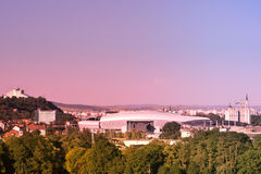 Skyline of Cluj Napoca. An image taken from a highrise showing the skyline of Cluj-Napoca: from the Cetatuia Hill on the left, with the new Cluj Arena in the Royalty Free Stock Images