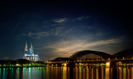 Skyline Cologne Germany. Night skyline of Cologne, Germany including the famous Cologne Cathedral royalty free stock photos