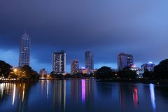 The skyline of Colombo at night Royalty Free Stock Photo