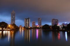 The skyline of Colombo at night Stock Images