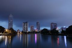 The skyline of Colombo at night Royalty Free Stock Photos