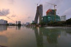 Skyline of Colombo in Sri Lanka at night Royalty Free Stock Image