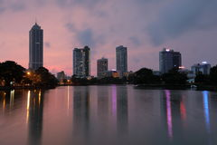 Skyline of Colombo in Sri Lanka at night Royalty Free Stock Images